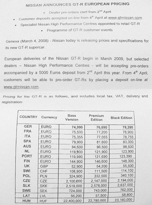 Nissan GT-R European Pricing