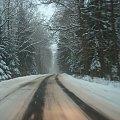 Droga - drogowcy sie postarali #zima #snieg #las #drzewa #droga #zaspy #natura #przyroda